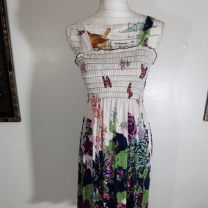 Floral butterfly size s sun dress